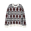 Plush Geometric Jacquard Crew-Neck Cashmere Sweater