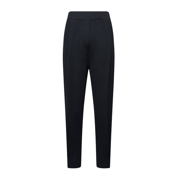 Pleated Silk Wool Blend Tapered Pants