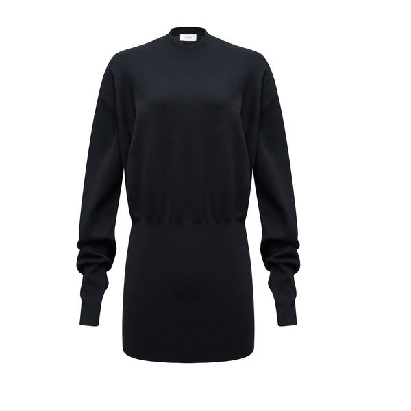 Crew-neck Fitted-waist  Silk Wool Blend Top