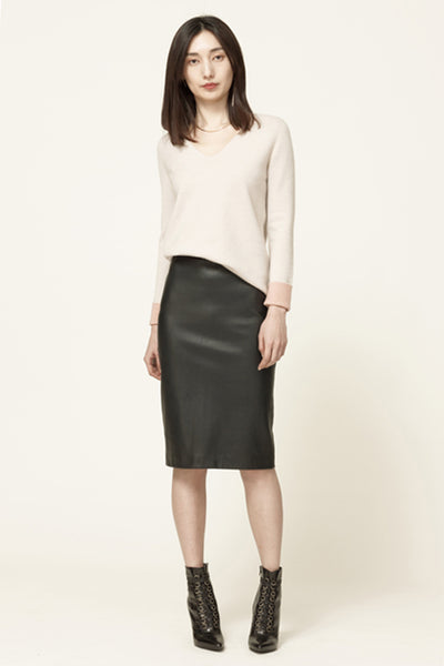 Stretched-leather skirt