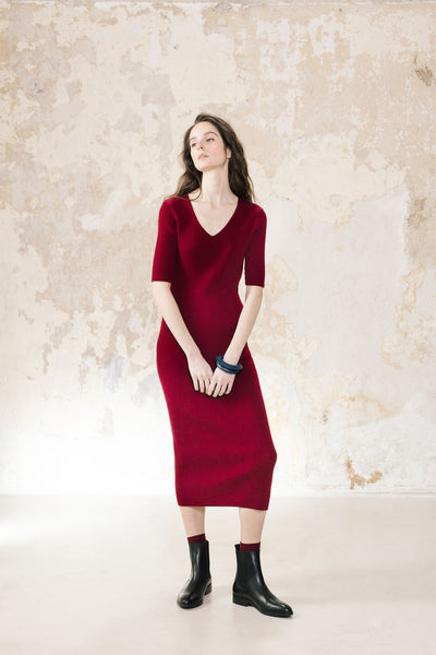 V-neck Dress Cashmere Cotton Blend