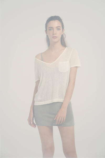 V neck short sleeves ultra fine top