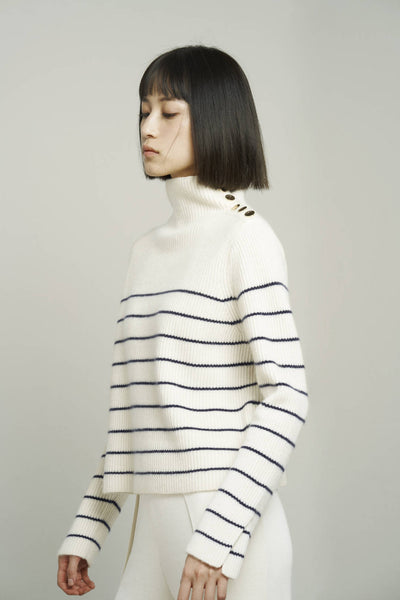 Button-embellished Striped cashmere turtleneck sweater