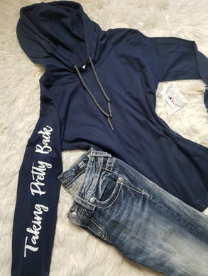 Taking Pretty Back Navy Hooded Top