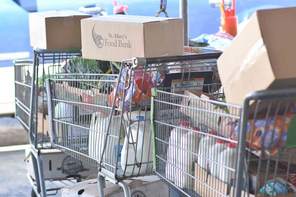 Grocery Carts with Food Bank Products