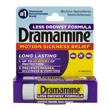 Dramamine Motion Sickness Relief Less Drowsy Tablets - Vial of 8