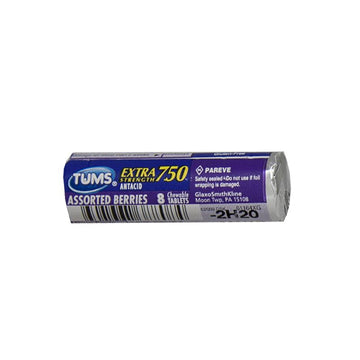 Tums EX 750 Assorted Berries Antacid - Roll of 8