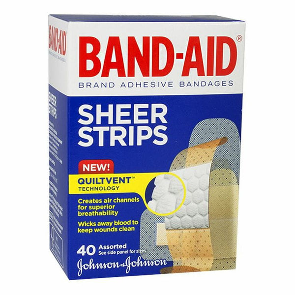 Johnson & Johnson Band-Aid Sheer Strips - Box of 40