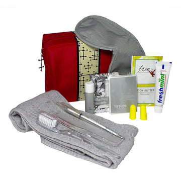 Small Red Bag Personal Essential Travel Kit - 11 Piece Kit