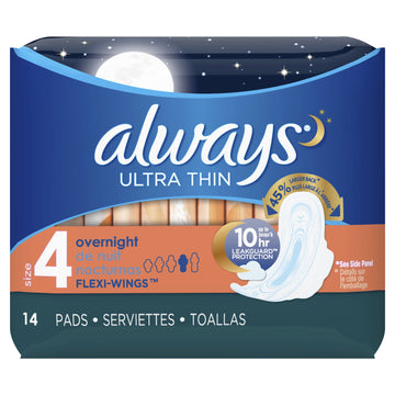 Always Ultra Thin Overnight Pads with Flexi-Wings - Pack of 14
