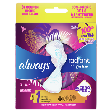 UNAVAILABLE - Always Radiant Regular Pads Size 1 - Pack of 3