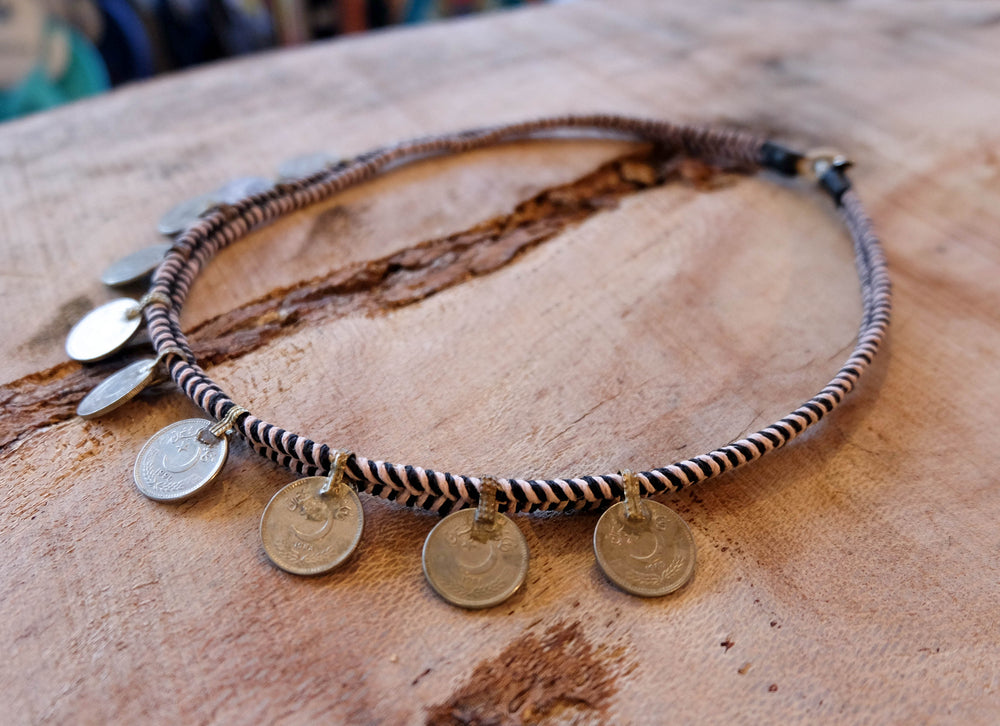 Macrame Long Coin Necklace - Made to Order