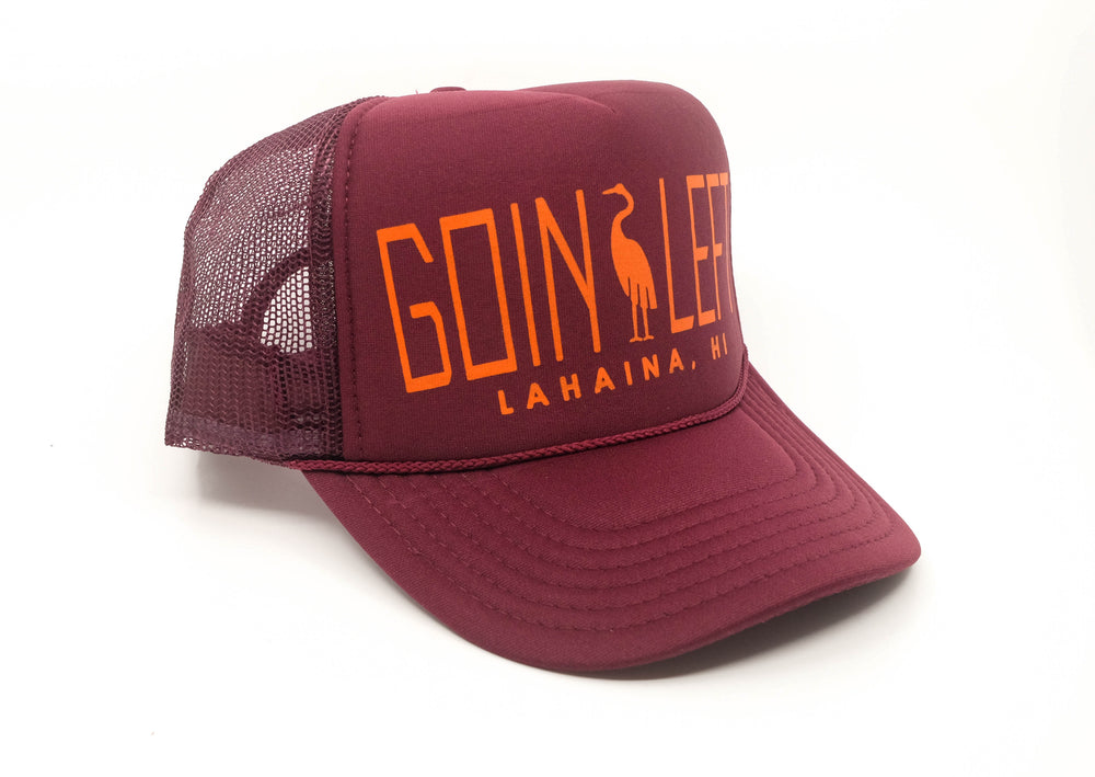 Goin Left Trucker Hat, Egret - Maroon
