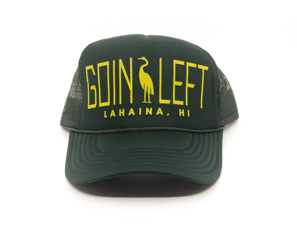 Goin Left Trucker Hat, Egret - Forest Green