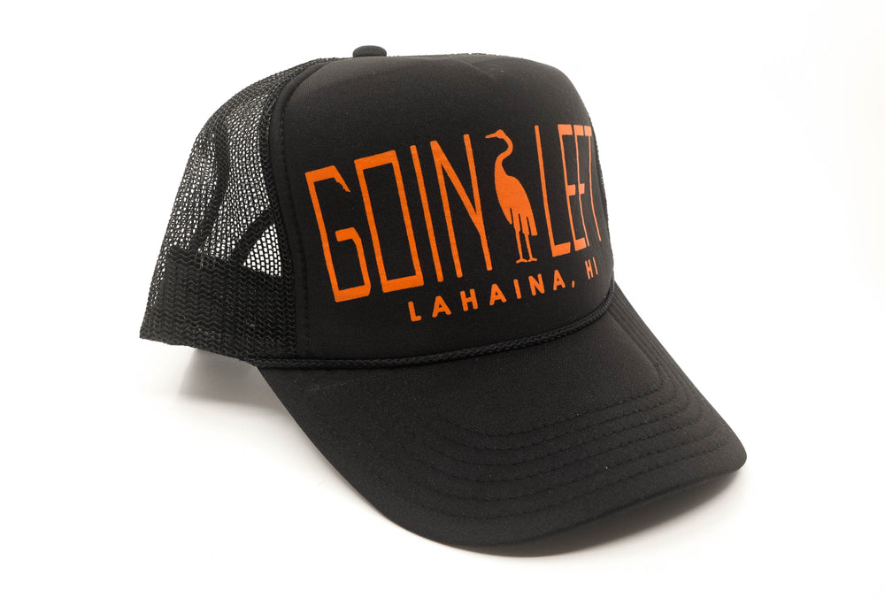 Goin Left Trucker Hat, Egret - Black