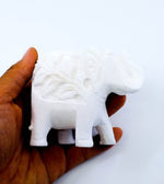 White Stone Carved Elephant Incense Cone Burner