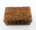 Hand Carved Wood Peace Box