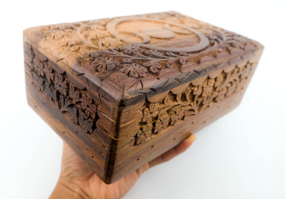 Hand Carved Triple Moon Wood Box - Large