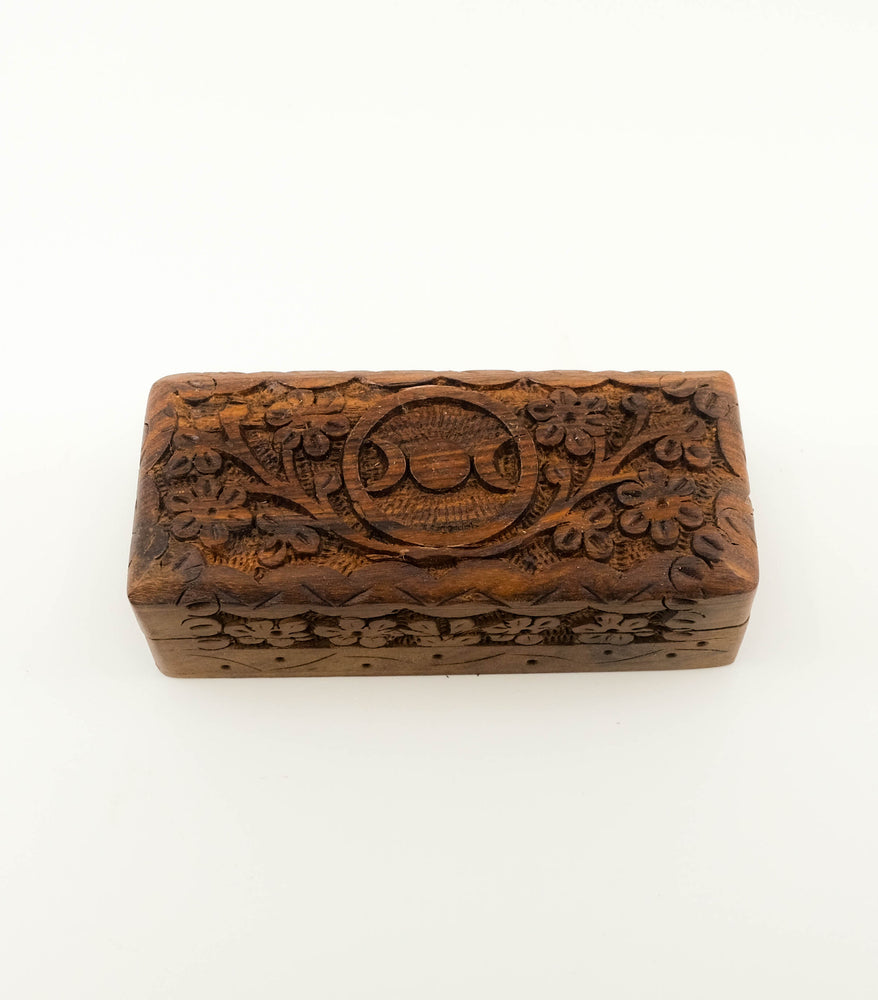 Hand Carved Triple Moon Wood Box - Small