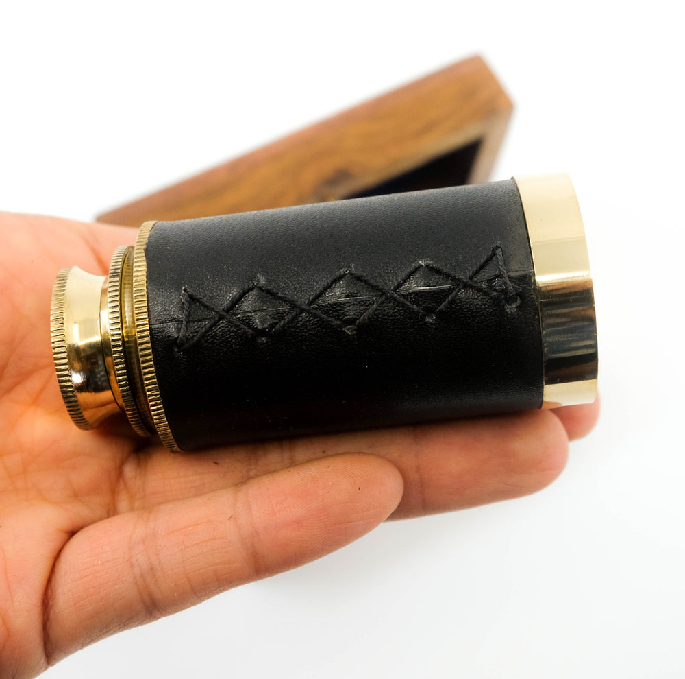 Telescope With Brass Inlay Wood Box
