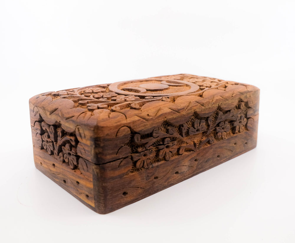 Hand Carved Triple Moon Wood Box - Medium