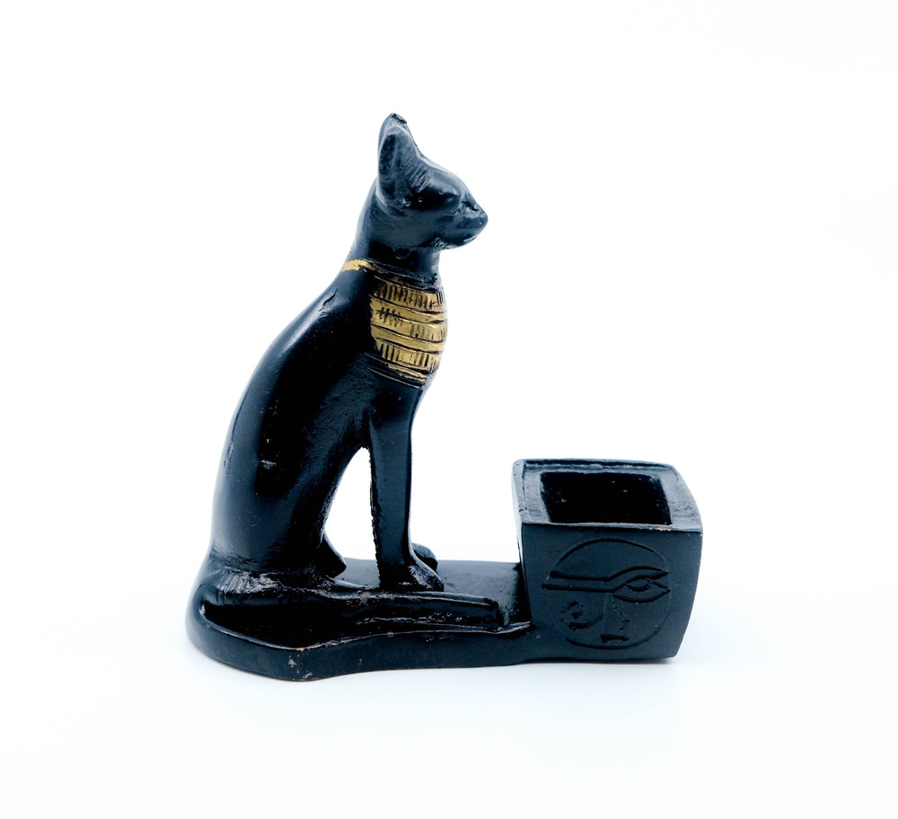 Cast Iron Black Cat Cone Incense Burner
