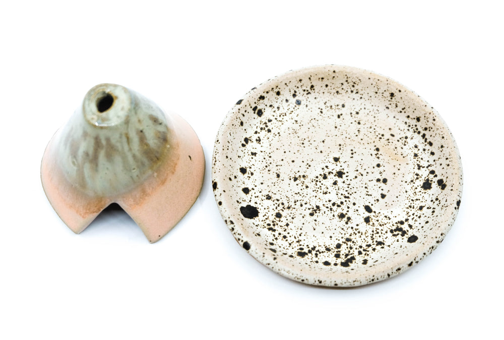 Ceramic Incense Teepee and Plate - Minty Guava and Speckled Grey