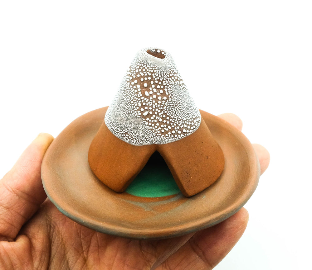 Ceramic Incense Teepee and Plate - Unglazed Red Clay/Dew