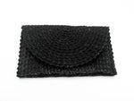 Straw Clutch Wallet - Black
