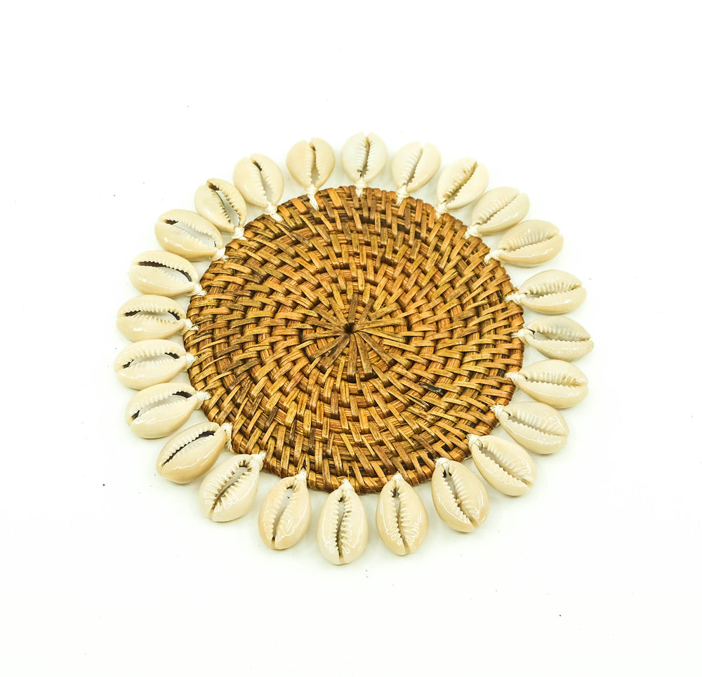 Rattan Coaster With Cowrie Shells