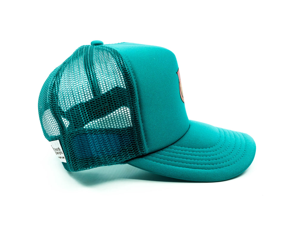 Hand Painted Lotus Trucker Hat - Teal