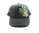 Hand Painted Lotus Trucker Hat - Grey