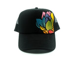 Hand Painted Lotus Trucker Hat - Black