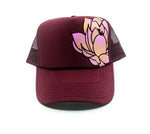Hand Painted Lotus Trucker Hat - Burgundy