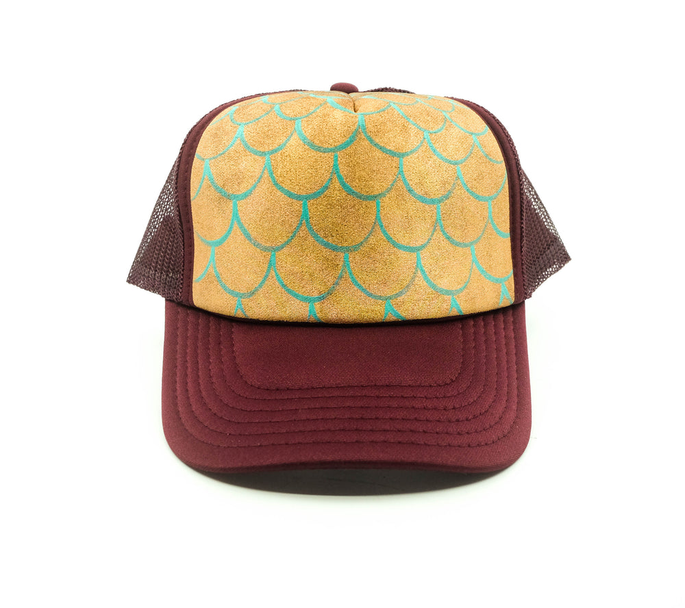 Hand Painted Mermaid Scales Trucker Hat - Burgundy