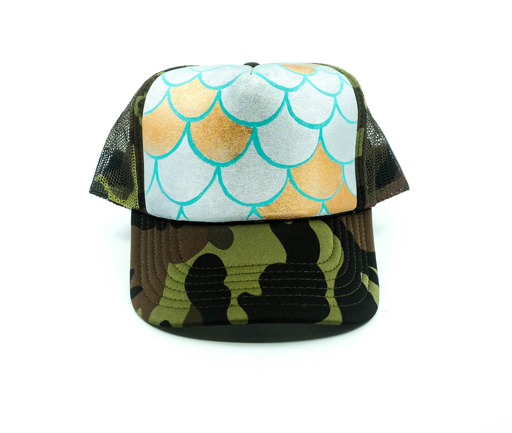 Hand Painted Mermaid Scales Trucker Hat - Camo