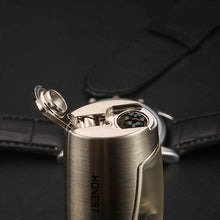Load image into Gallery viewer, Windproof 3 Heads Torch Lighter Metal Butane Gas Lighter with Cigar Cutter