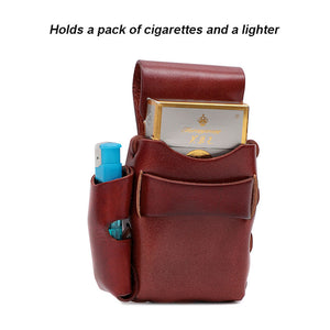 Retro Belt-Mounted Leather Cigarette & Lighter Case Hand Made