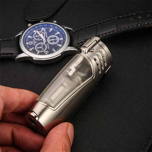Windproof 3 Heads Torch Lighter Metal Butane Gas Lighter with Cigar Cutter