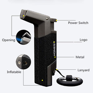 Pipe Lighter with Butane Torch Side Flame & Metal Body