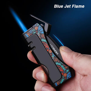 Torch Cigar Lighter Butane Squeeze Lighter With Blue Jet Flame