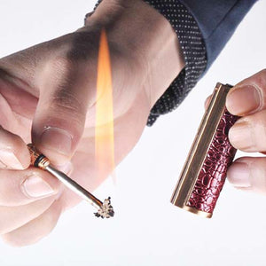 Luxury Mini Permanent Match Lighter With Leather Cover
