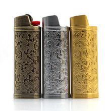 Load image into Gallery viewer, Vintage Metal Lighter Case Compatible with BIC J5/J6 Size Lighter With Floral Relief