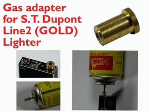 2pcs Gas Refill Adapters for ST Dupont lighter Line 1/2 Gold/Yellow Cap