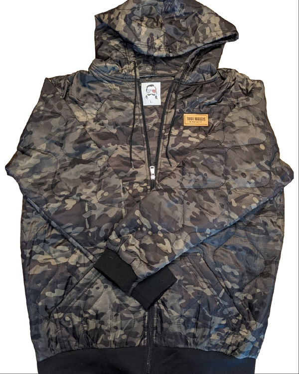 Zip Up Black Multicam Woobie Hoodie