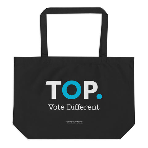 TOP #VOTEDIFFERENT Blue – Large organic tote bag