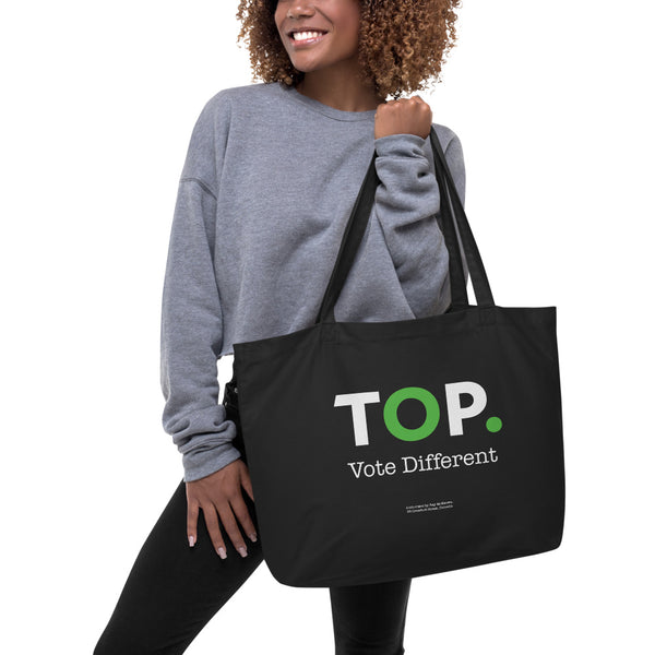 TOP #VOTEDIFFERENT Green – Large organic tote bag