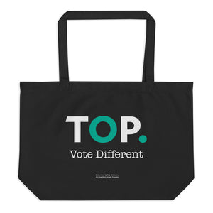 TOP #VOTEDIFFERENT Teal – Large organic tote bag