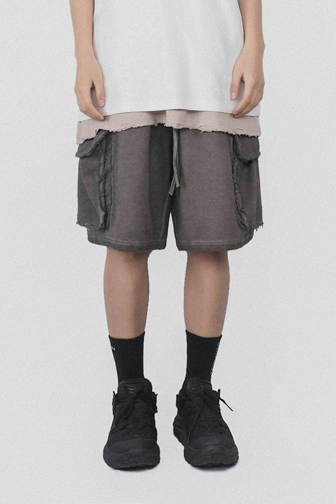 Underwater Raw Edge Shorts Grey, asian fashion designer clothing, PROJECTISR, Shorts, UNDERWATER