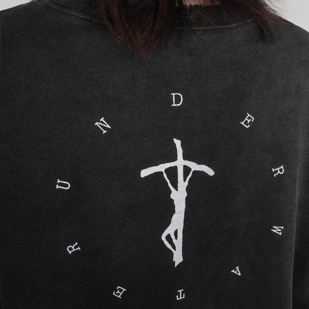 UNDERWATER Crucifix Vintage Sweatshirt Charcoal Black, asian fashion designer clothing, PROJECTISR, Sweatshirt, UNDERWATER